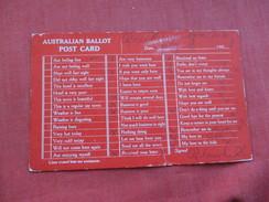 Australian Ballot Post Card   ====    Ref 2799 - Australia