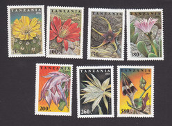 Tanzania, Scott #1388-1394, Mint Hinged, Cactus Flower, Issued 1995 - Tanzania (1964-...)