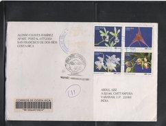 Registered Cover Costa Rica To India 2007 Orchids Cancellation Varanasi - Costa Rica