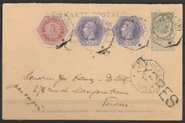 EP 5c Vert + Télégraphes TG9+TG11x2 Càd Octogon. VERVIERS (STATION)/6 FEV 1898 Pour EV - Stamped Stationery