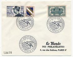 """FRANCE - Enveloppe - Cachet Temporaire """"XIeme Expo Phil Des Cheminots Philatélistes"""" PARIS 1/11/1954 - Trains"""