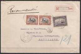 L. Recommandée Affr. N°142x2+145 Càd BERCHEM (ANTW.)/1 X 1921 Pour Diplomate à BRUXELLES - Belgique