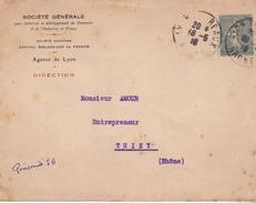LETTRE DE LA SOCIETE GENERALE  AVEC TIMBRE 15 C SEMEUSE PERFORE S G - Postmark Collection (Covers)