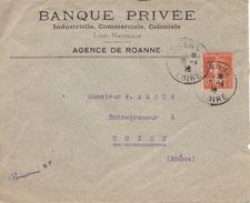 LETTRE DE LA BANQUE PRIVEE DE ROANNE AVEC TIMBRE SEMEUSE  10 C  PERFORE  B P - Postmark Collection (Covers)