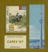 Cuba 1987 International Stamp Exhibition Philatelic EXPO CAPEX '87 Toronto Canada Flag Horse S/S MNH - Kuba