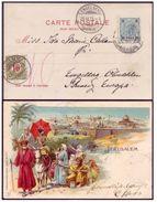 Austria Levant Post Jerusalem 1903 Israel Palestine Illustrated Postcard Taxed In Engelberg Switzerland - Palästina