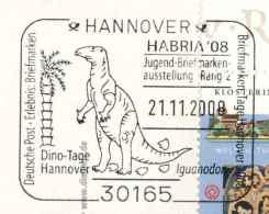 7288  Iguanodons: Oblit. Temp D'Allemagne, 2008 -  Iguanodon Ornithopod Dinosaur, Cretaceous Per. Prehistory Préhistoire - Postzegels