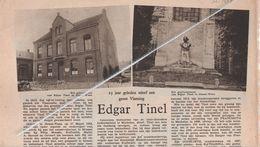 EDGAR TINEL...° SINAAI-WAAS 1854  + 1912 IN HET LEMMENSGESTICHT TE MECHELEN WERD EEN GEDENKTEKEN OPGERICHT - Vieux Papiers