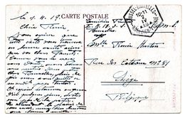 Oblit. Hexagonale BRUSSEL-BRUXELLES / NAGEZIEN-VERIFIE Sur CV En Franchise Vers Liège - Fortune Cancels (1919)