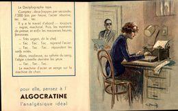Publicité  Ancienne - ALGOCRATINE - Femmes D'aujourd'hui - LA Dactylo Illust. G. Pavis R/V  - Bill- - Publicités