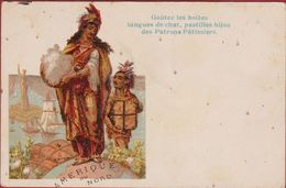 Old Postcard Chromo Litho American Indian Indiaan Amerique Du Nord Publicite Patrons Patissiers Langues De Chat Pub - Native Americans