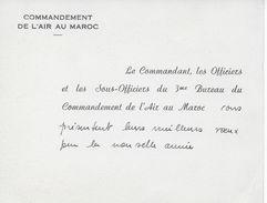 Carte Vœux 3ème Bureau Du Commandement De L' Air Français Au Maroc Avant Indépendance - Aviation