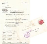 Biberach 1921, Dienstpost. Einkommensteur-Anforderung - Briefe U. Dokumente