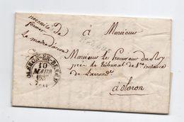 Bedous.Accous.Oleron En Bearn.Oloron Sainte Marie.1837.Cursive Bedous.Signature Du Maire D'Accous. - Poststempel (Briefe)