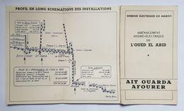 PLAN ET CARTE - ENERGIE ELECTRIQUE DU MAROC - AMENAGEMENT HYDRO ELECTRIQUE DE L'OUED EL ABID - AIT OUARA AFOURER - 1950 - World