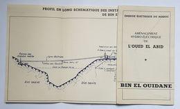 PLAN ET CARTE - ENERGIE ELECTRIQUE DU MAROC - AMENAGEMENT HYDRO ELECTRIQUE DE L'OUED EL ABID - BIN EL OUIDANE - 1950 - Mundo