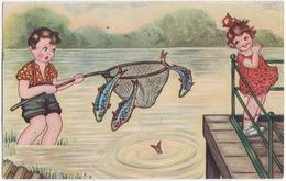 Jongen Aan Het Hengelen Met Net; Vissen Ontsnappen - 1933 - (Holland) - Humorkaarten