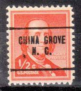 USA Precancel Vorausentwertung Preo, Locals North Carolina, China Grove 704 - Vereinigte Staaten
