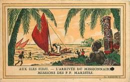 140118 ILES FIDJI L'arrivée Du Missionnaire MISSIONS DES PP MARISTES Propagation Foi Catholique Ethnie Voilier Totem - Fidji