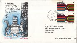 Canada - FDC 20-07-1971 - 100 Jahre Zugehörigkeit Von Britisch Columbia Zum Dominion Of Canada - M 485 - Omslagen Van De Eerste Dagen (FDC)