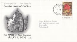 Canada - FDC 3-09-1971 - Der Ahorn In Den 4 Jahreszeiten (III): Herbst - M 487 - 1971-1980