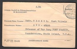 Germany1946:POW Card Sent From Prisoner's Family To POW In Rhode Island Camp In The US - 2. Weltkrieg