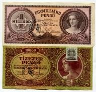 "Hongrie Hungary Ungarn LOT 2 Notes PENGO 1945 - 1946 Ovp "" MAGYAR MAGUJULAS PARTJA - EGYHAZFA "" - Ungheria"