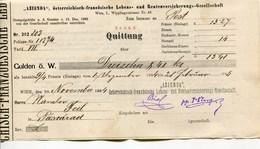 """Autriche Austria Österreich Ticket QUITTUNG """" AZIENDA """" Austria - France Society 1885 # 2 - Austria"""