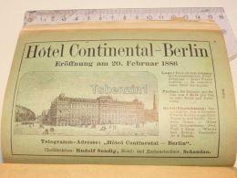 Hotel Continental Berlin Germany Print Engraving 1886 - Prints & Engravings