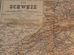 Suisse Schweiz Basel Bern Locarno Chur Schaffhausen St. Gallen Zürich Bellinzona Interlaken Map Karte 1886 - Landkarten