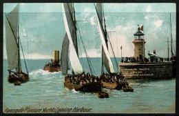RB 1184 - Early Postcard - Pleasure Yachts Leaving Ramsgate Harbour & Lighthouse - Kent - England
