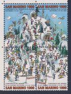 San Marino 1997 Mi 1700 /03 - 4-block ** World Skiing Championships, Sestriere / Alpine Ski-Weltmeisterschaften - Skisport