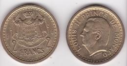 MONACO. 2 FRANCS Sans Date (1943). LOUIS II . BRONZE-ALUMINIUM - Monaco