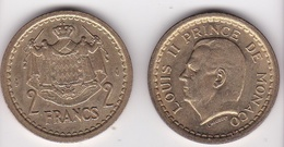 MONACO. 2 FRANCS Sans Date (1943). LOUIS II . BRONZE-ALUMINIUM - Mónaco