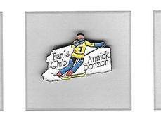 Pin's  Sport  SKI  Fan's  Club  ANNICK  BONZON  Skieuse  SUISSE  Avec  Participation  J.O  ALBERTVILLE  1992 - Winter Sports