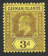 Cayman Islands, 3 P. 1908, Sc # 24, MH - Cayman Islands