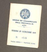 TESSERA UNIONE COMMERCIANTI DELLA PROVINCIA DI ASTI - 1971 - Organizzazioni