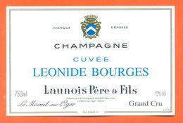 étiquette De Champagne Grand Cru Cuvée Leonide Bourges Launois Père Et Fils à Le Mesnil Sur Oger - 75 Cl - Champagne