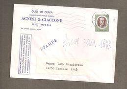 ITALIA STORIA POSTALE 1978 BRUNELLESCHI L.70 ANNULLO IMPERIA BUSTA INTESTATA OLIO DI OLIVA AGNESI & GIACCONE - 6. 1946-.. Repubblica
