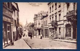 Photo D'Algrange. 57. Algringen (Lothringen). Grossstrasse.  Grande Rue, Passants, Tramway,temple Protestant. - Lieux