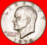 √ LUNAR DOLLAR: USA ★ 1 DOLLAR 1974D! LOW START ★ NO RESERVE! Dwight D. Eisenhower (1890-1969) - Federal Issues