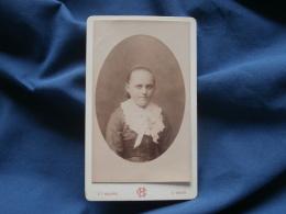 Photo CDV  Houppe à St Omer  Portrait  Fillette  Grand Col En Borderie Anglaise Avec Un Noeud - CA 1885 - L342 - Old (before 1900)