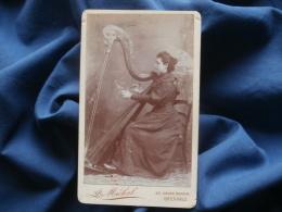 Photo CDV A. Michel à Grenoble - Jeune Femme (Jeanne Fouillon) Jouant De La Harpe, Circa 1890 L324 - Old (before 1900)