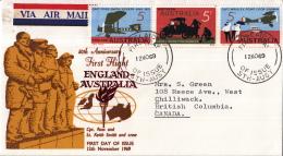 Australië - FDC 12-11-1969 - 50. Jahrestag Des Ersten England-Australien-Fluges - M 428-430 - Flugzeuge
