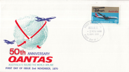 Australië - FDC 2-11-1970 - 50 Jahre Fluggesellschaft QANTAS - M 455 - Flugzeuge