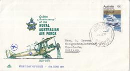 Australië - FDC 9-06-1971 - 50 Jahre Australische Luftwaffe (RAAF) - M 467 - Flugzeuge