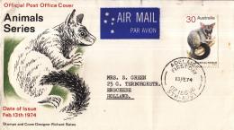 Australië - FDC 13-02-1974 - Freimarken: Säugetiere - Kletterbeutier - M 544 - FDC