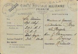 PAS DE CALAIS 62  - CALAIS   - FLAMME N° CAL 107P K - DESCRIPTION - 1939 - S/CARTE POSTALE MILITAIRE 39 FM - Postmark Collection (Covers)