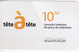 Moldova ,  Moldavie  , Prepaid Phonecards - Moldtelecom - Tete-a-tete , 10 Lei , Glossy Paper , Used - Moldova