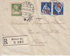 K16 SUR RECOMMANDE POUR FLEURIER - 1922 - Tête-Bêche